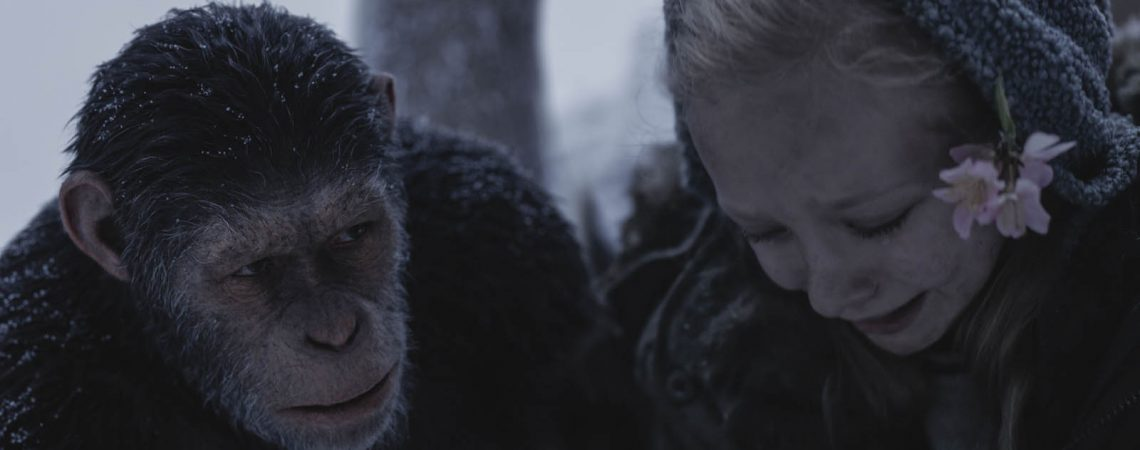 "Andy Serkis and Amiah Miller star as Caesar in Twentieth Century Fox's ""War for the Planet of the Apes."""